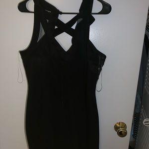 Crystal doll black mini dress